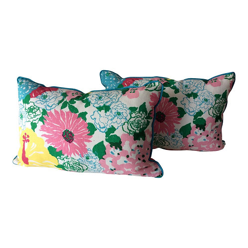 Cottage Style Handmade Floral Pillows - a Pair