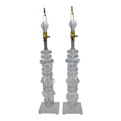 1970s Mid-Century Modern Lucite Stacked Lamps - a Pair