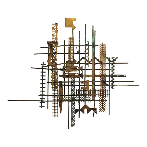 William Bowie Mid-Century Brutalist Metal Wall Sculpture