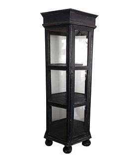 20th century Industrial Hexagon Rustic Glass Curio Cabinet