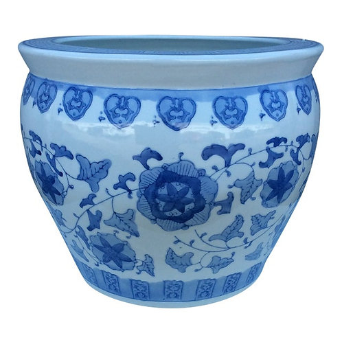 Late 20th Century Blue & White Chinese Porcelain Planter / Jardiniere