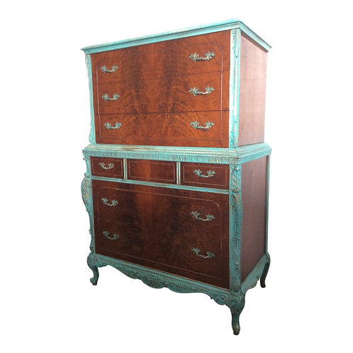 "20th Century French Provincial ""Verdi Gris"" Highboy"