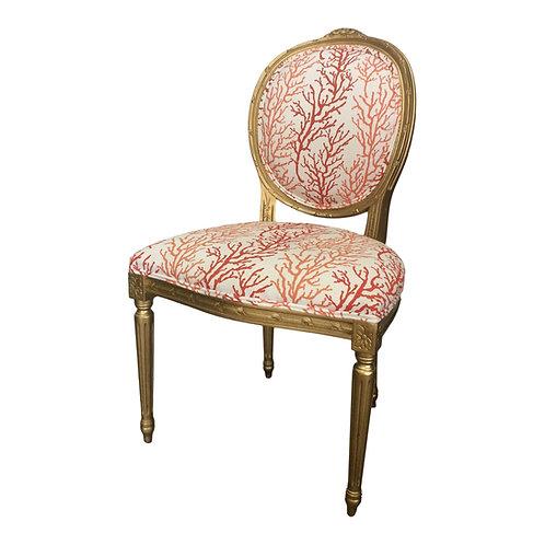 """1970s Vintage Louis """"Coral"""" Accent Chair"""