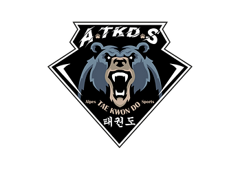 Logo Taekwondo PNG fond noir typo blanche patte beige.png