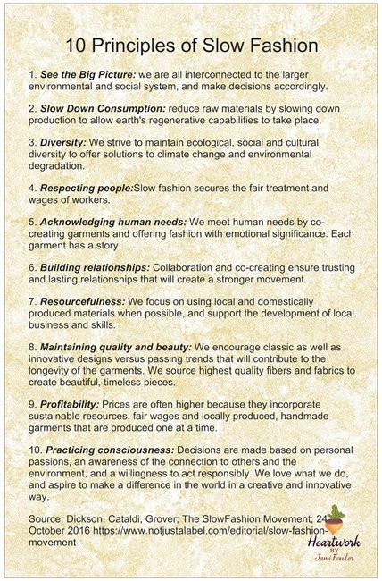 10 principles of slow fashion poster