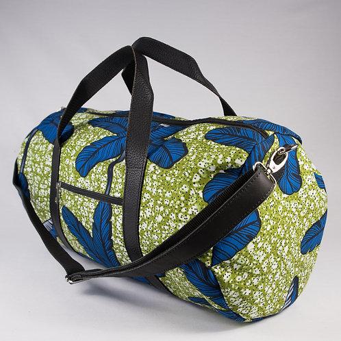 Madame Dakar Weekend Bag - African Wax Print - green/blue
