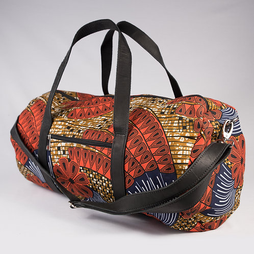 Madame Dakar Weekend Bag - African Wax Print - orange/yellow