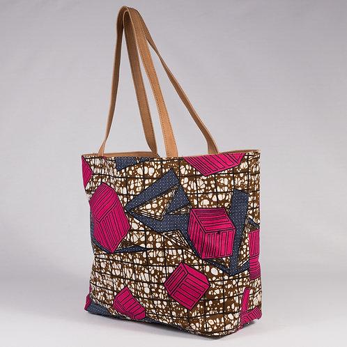 Madame Dakar Reversible Tote Bag - pink cubes