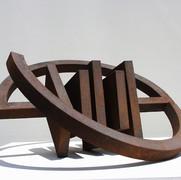 Schichtung,2004, Eisenfeilspäne auf MDF, Durchm.50 cm