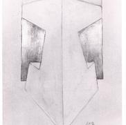 2005 70 x 100 cm Graphit auf Acryl, Blattgold, Collage, Stoff
