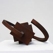 Schichtung, 2004, Eisenfeilspäne auf MDF, Durchm.50 cm