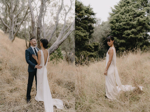 A simple tight nape bun is all you need when the back of the wedding dress is telling the statement.The fringe we cut in a few days before the wedding for a surprise for all her guests and family that hadnt seen her with a fringe for years. Looked so good !