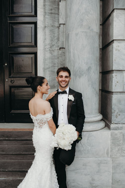 Simple and perfect high bun for Laras wedding day hair. She requested a high bun but didnt want nto see the bun sticking up from the front view.