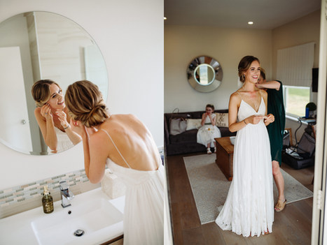 Romantic hair softly draped to a nape bun for this stunning bride