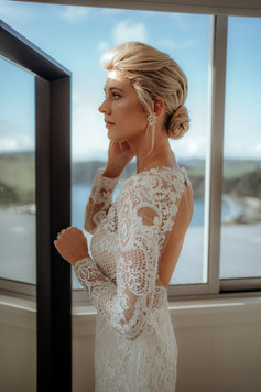 Textured nape bun was the perfect fit with this beautiful lace dress