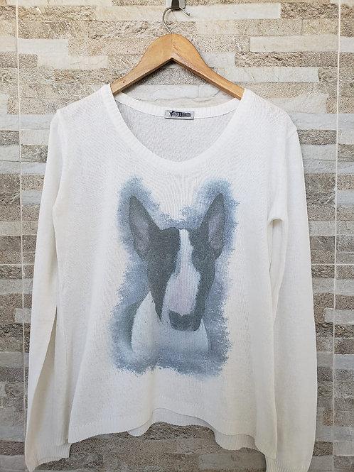 Tricot Branco com  estampa Bull Preto e Branco