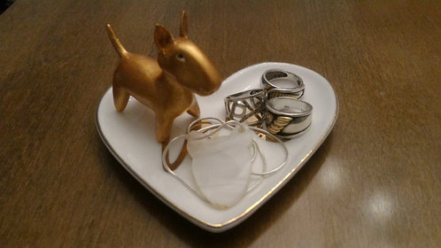 Porta anel Bull Terrier dourado