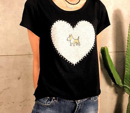 Camiseta Bull Terrier Coração