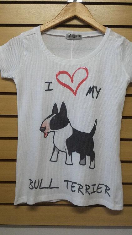 Camiseta I Love My Bull Branco e Preto