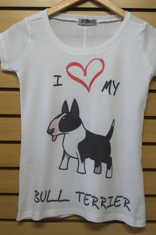 Camiseta I Love My Bull Branco e Preto