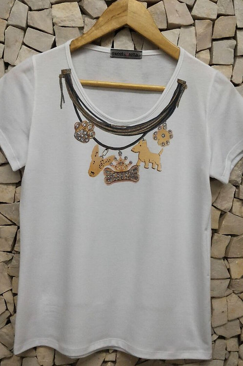 Camiseta Estampa Bull Colar com Cristais