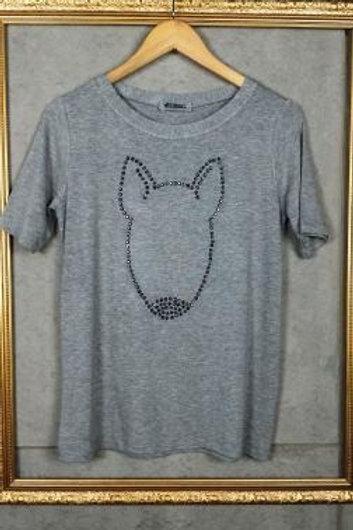 T-Shirt Mescla com silhueta de Bull em cristais gray cr