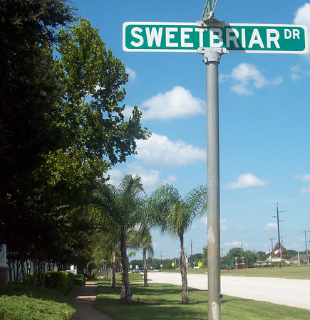 Street Sign at Entrance to Sweetbriar