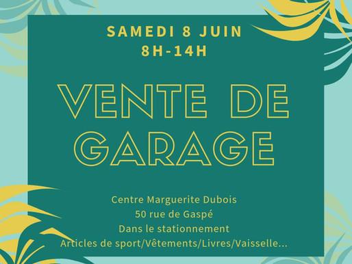Vente de Garage! 8 Juin 2019