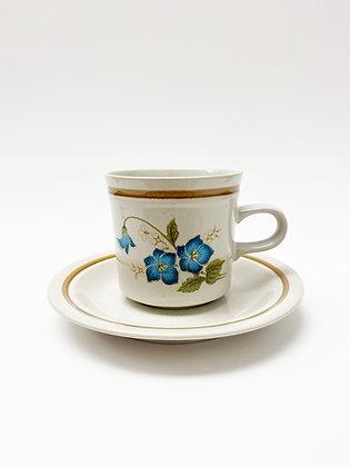 Blue Floral Teacup with Saucer