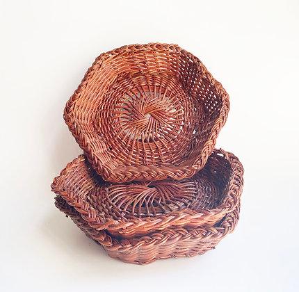 Hexagon Wicker Basket Set
