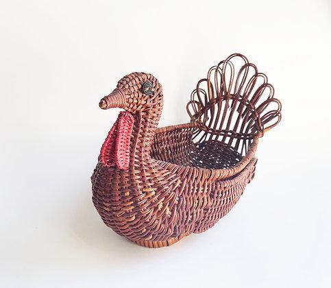 Vintage Turkey Wicker Basket
