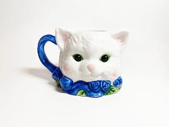 Vintage White Cat Mug
