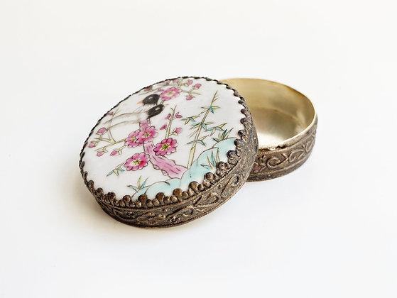 Hand-painted Floral Lovebirds Trinket Box