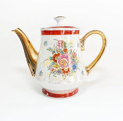 Vintage Faux Gold Floral Teapot