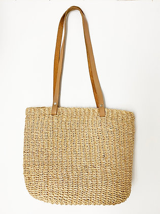 Classic Woven Basket Handbag with Leather Straps