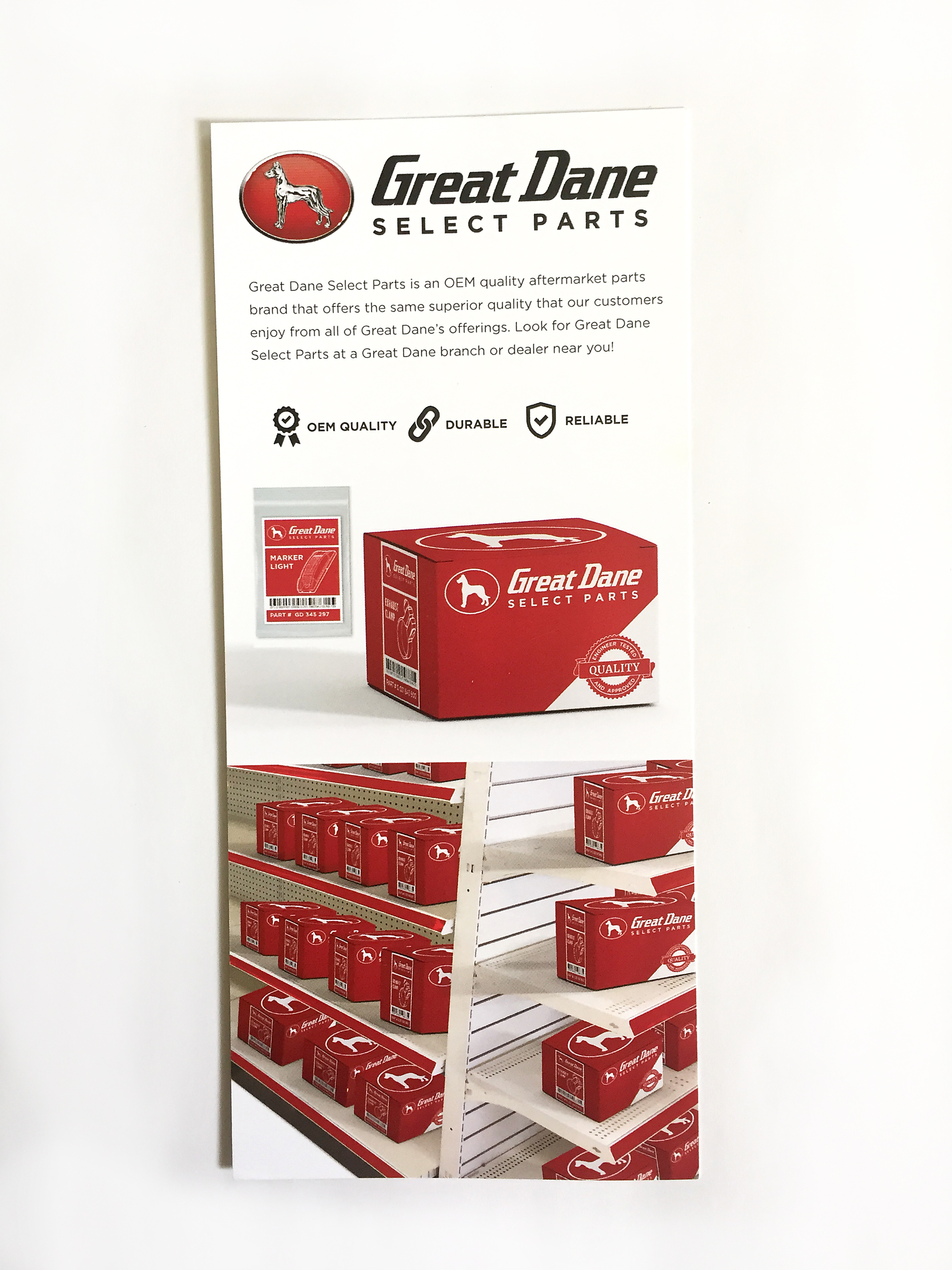 Great Dane Select Parts Rack Card