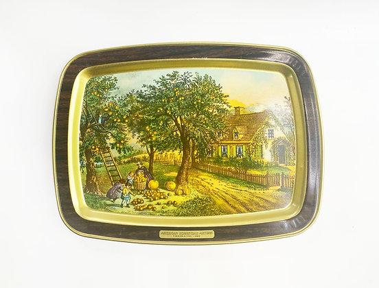 American Homestead Currier & Ives Metal Serving Tray - Autumn