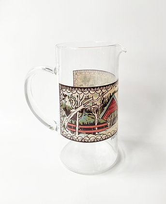Vintage Friendly Village Glass Pitcher