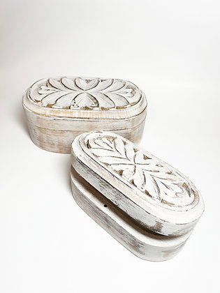 Carved Distressed Wood Box Set