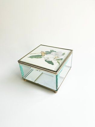 Magnolia Glass Trinket Box
