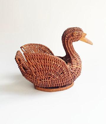 Vintage Swan Basket