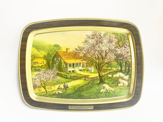 American Homestead Currier & Ives Metal Serving Tray - Spring