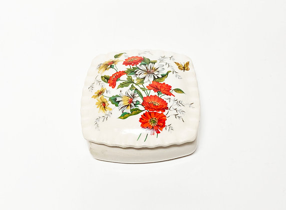 Vintage Floral Butterfly Jewelry Box