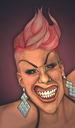 Pink Caricature Portrait