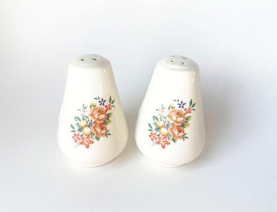 Vintage Floral Ceramic Salt & Pepper Shakers