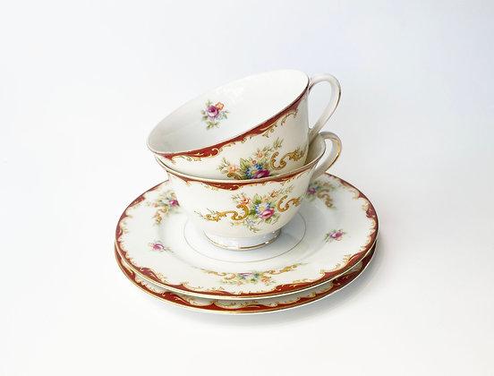 Ornate Floral Teacup & Saucer Set
