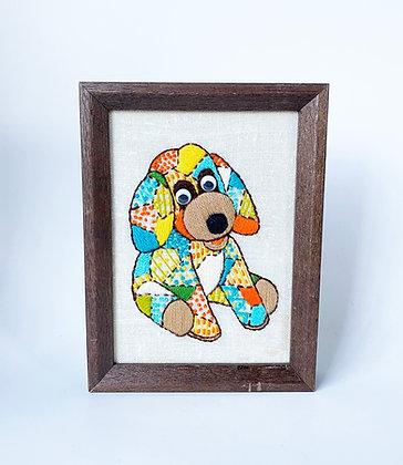 Handmade Patchwork Puppy Embroidery Framed Art