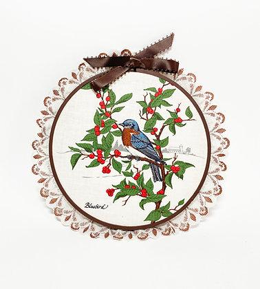 Bluebird Lace Embroidery Hoop Art