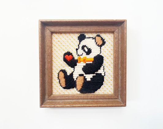 Vintage Panda Embroidery Art