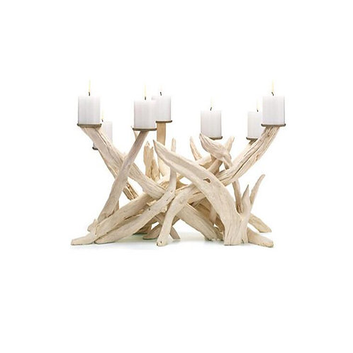 Bleached Driftwood Candle Holder for Fireplace